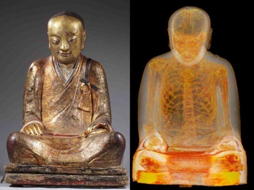 В статуе будды нашли мумию монаха, пролежавшую там свыше 1000 лет.